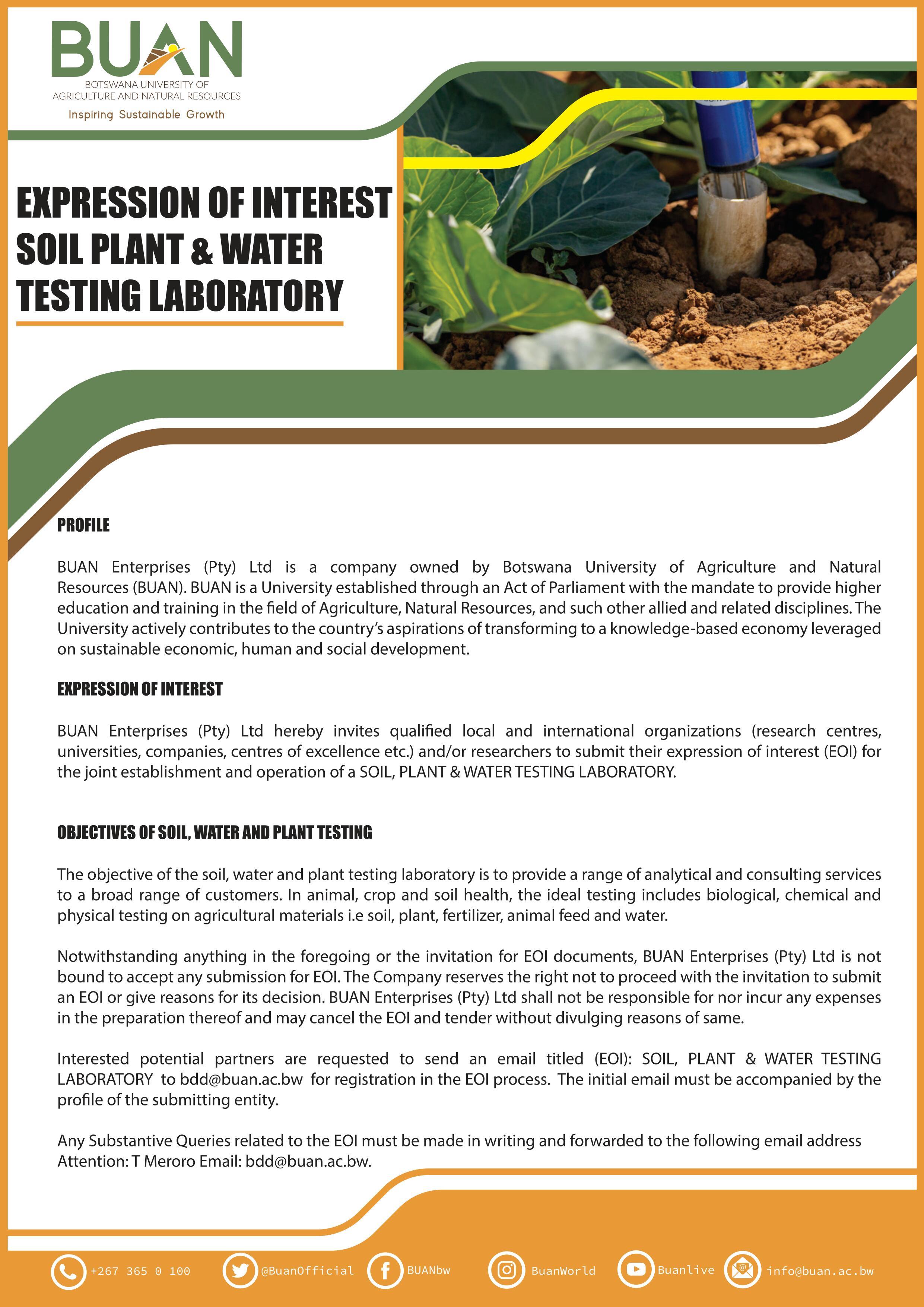 BUAN EOI Soil Plant Water Lab